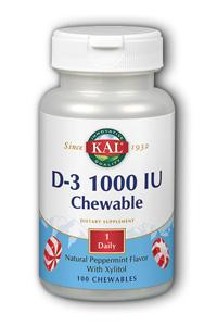 Kal: D-3 1000 IU Peppermint 100ct Chewable