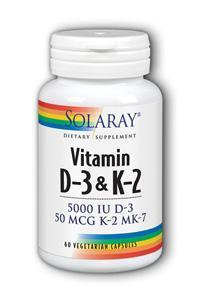 Solaray: D-3 And K-2 5000IU - 50mcg 60 Vegetarian Capsules