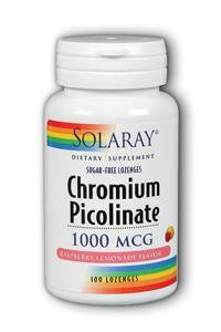 Solaray: Chromium Picolinate 1000mcg Raspberry Lemon Flav 100 Loz