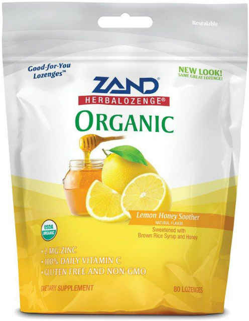 Zand: Organic HerbaLozenge Lemon Honey Soother 80 Drops Lozenge (Pouch) 80ct