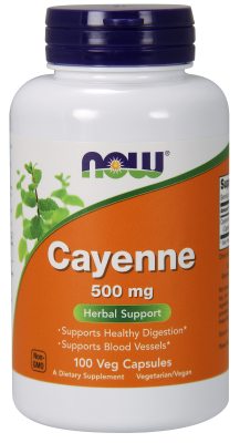 NOW: CAYENNE 500mg  100 CAPS 100 CAPS