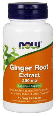 NOW: Ginger Root 250MG 5% Standardized Extract 90 Veg Capsules
