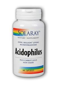 Solaray: Acidophilus plus carrot juice 60ct 3bil