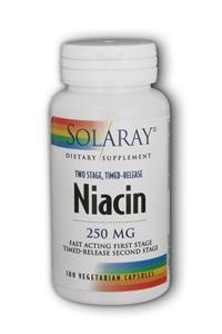 Solaray: Niacin 250mg two-stage time-release 100 Vcaps