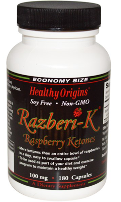 HEALTHY ORIGINS: Raspberry Ketones (Razberi-K) 100mg 180 cap