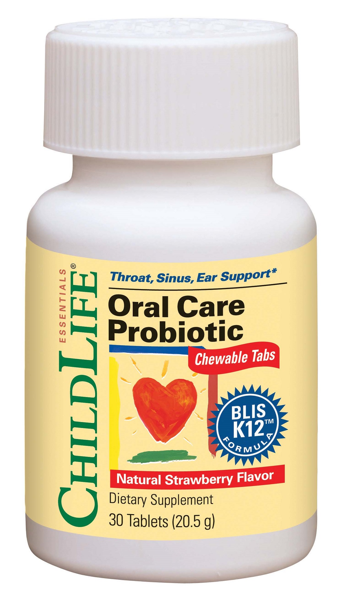 CHILDLIFE: Oral Care Probiotic Strawberry Chewable Tablets 30 chewable
