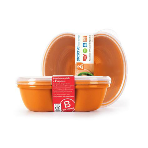 PRESERVE: Food Storage Square 25oz Orange 2 ct
