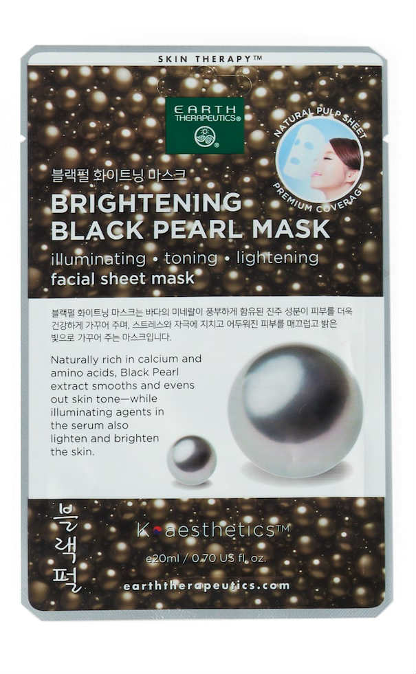 EARTH THERAPEUTICS: Facial Sheet Mask Brightening Black Pearl 3 ct