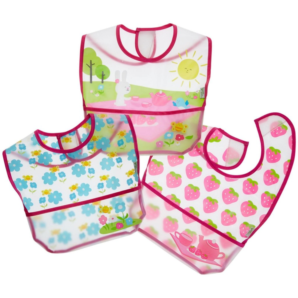 GREEN SPROUTS: Wipe-Off Bibs (3ct) Pink Picnic Set 9/18 mo 3 ct
