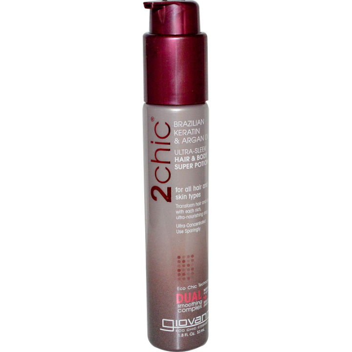 GIOVANNI COSMETICS: 2chic Brazilian Keratin And Argan Oil Ultra-Sleek Hair And Body Super Potion 1.8 oz