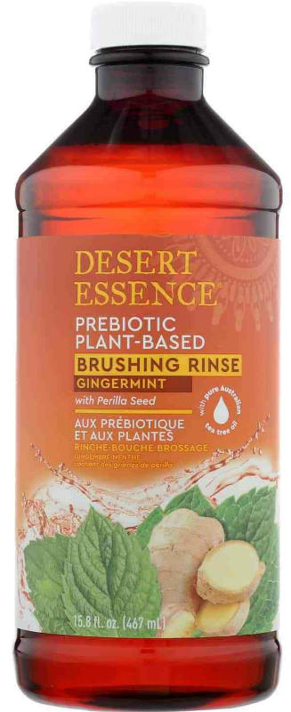 DESERT ESSENCE: Gingermint Prebiotic Plant Based Brushing Rinse 15.8 ounce