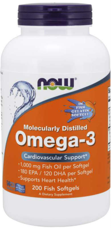 NOW: Omega-3 Fish Oil in Fish Gelatin Molecularly Distilled 200 Softgels