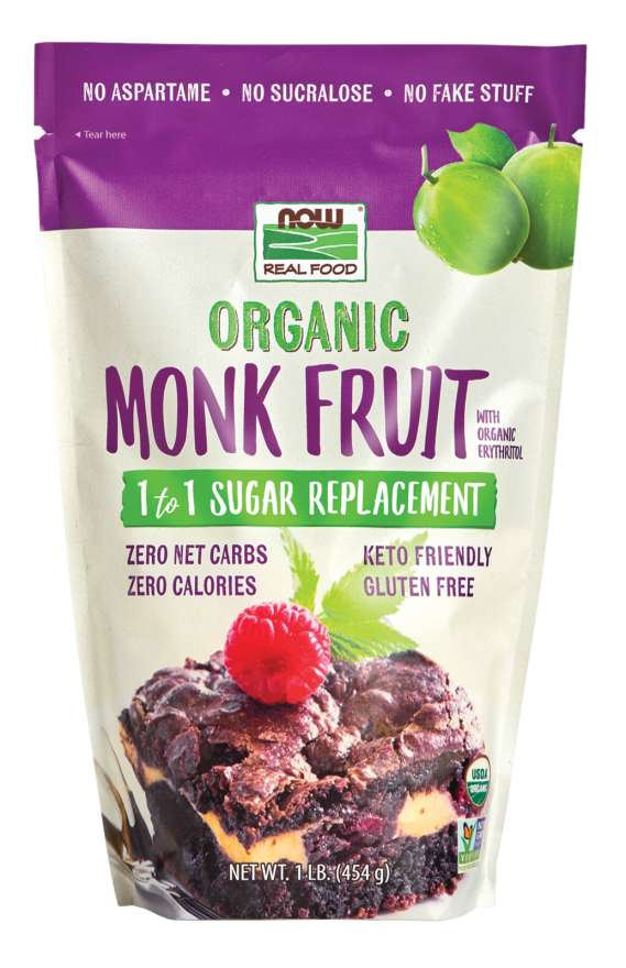 NOW: Organic Monk Fruit 1 to 1 Sugar Replacement 1 Lb