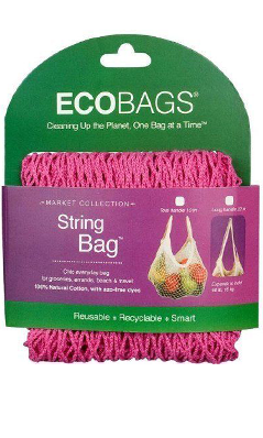 ECO-BAGS PRODUCTS: String Bag Tote Handle Natural Cotton Cranberry 1 bag