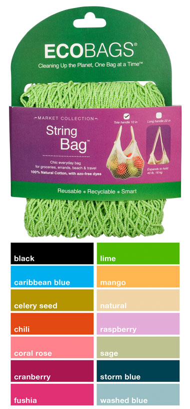 ECO-BAGS PRODUCTS: String Bag Tote Handle Natural Cotton Celery Seed 1 bag