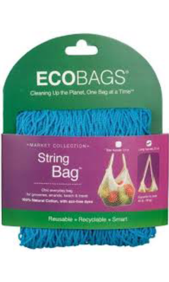 ECO-BAGS PRODUCTS: String Bag Tote Handle Natural Cotton Storm Blue 1 bag