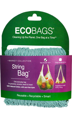 ECO-BAGS PRODUCTS: String Bag Tote Handle Natural Cotton Washed Blue 1 bag