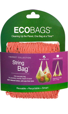 ECO-BAGS PRODUCTS: String Bag Tote Handle Natural Cotton Coral Rose 1 bag