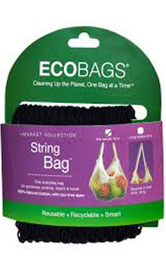 ECO-BAGS PRODUCTS: String Bag Tote Handle Natural Cotton Black 1 bag
