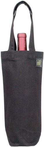 ECO-BAGS PRODUCTS: Wine Tote Canvas Black Rustic 100 Percent Recycled Cotton 1 bag