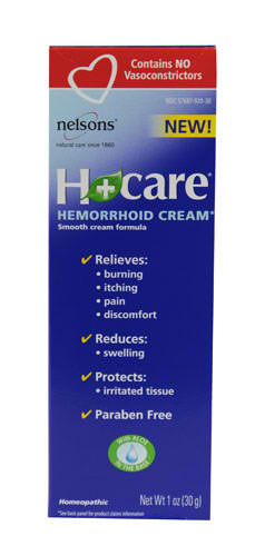 NELSON HOMEOPATHICS: H+ Care Hemorrhoid Cream 1 oz