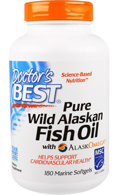 Doctors Best: Pure Wild Alaskan Fish Oil with AlaskOmega 180 Softgel