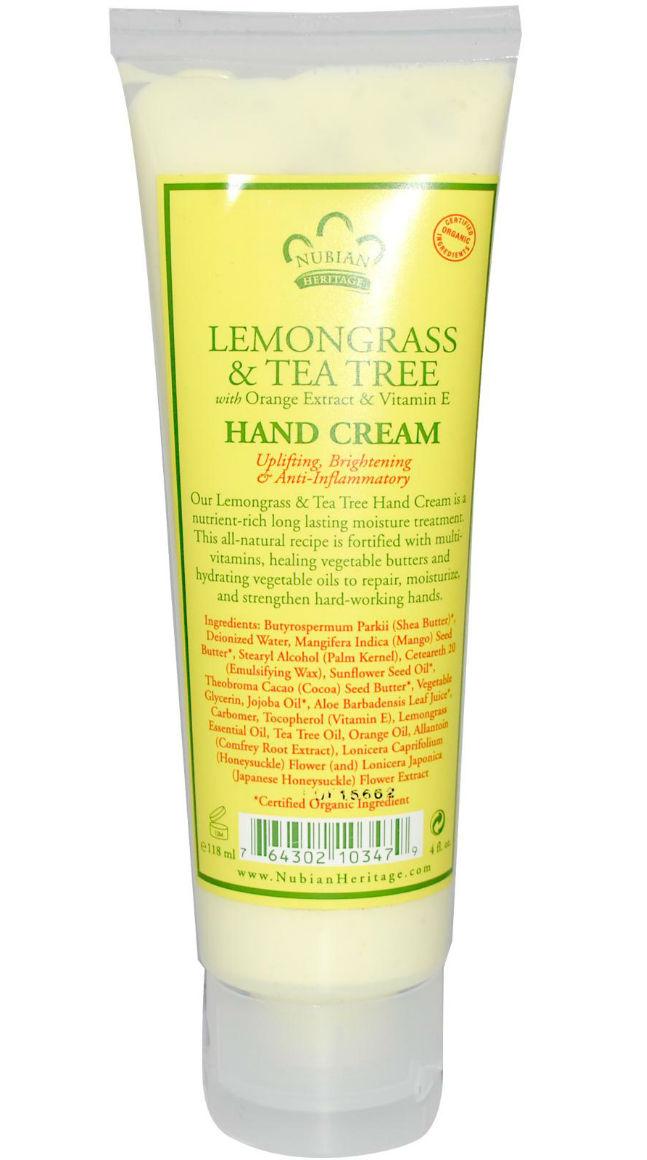 NUBIAN HERITAGE/SUNDIAL CREATIONS: Hand Cream Lemongrass and Tea Tree 4 oz