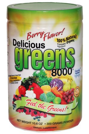 GREENS WORLD INC: Delicious Greens 8000 Berry Flavor 10.6 oz