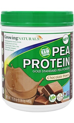 GROWING NATURALS: Pea Protein Powder Chocolate 0.99 lb