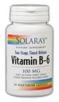 Solaray: Vitamin B-6 100mg Timed Release 30 Vegetarian Caps two-stage TR