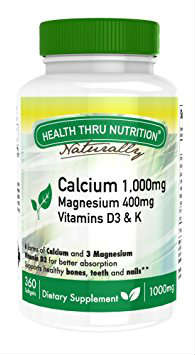 Calcium 1000mg Magnesium 400mg with Vitamin D&K 90 softgel from HEALTH THRU NUTRITION