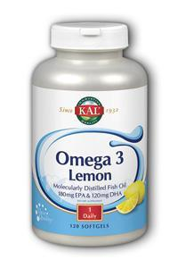 Kal: Omega-3 with natural lemon flavor 120ct 1070mg