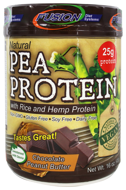 FUSION DIET SYSTEMS: Pea Protein Shake Powder Chocolate Peanut Butter 16 oz