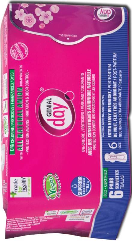 Eco Certified Extra Heavy Overnight/Postpartum Pads 6 ct from GENIAL DAY