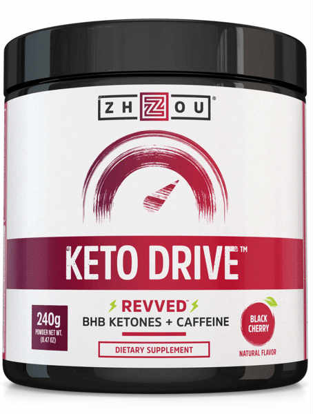 Zhou Nutrition: Keto Drive (BHB) Ketones Fine Powder Black Cherry (Jar) 8.3oz