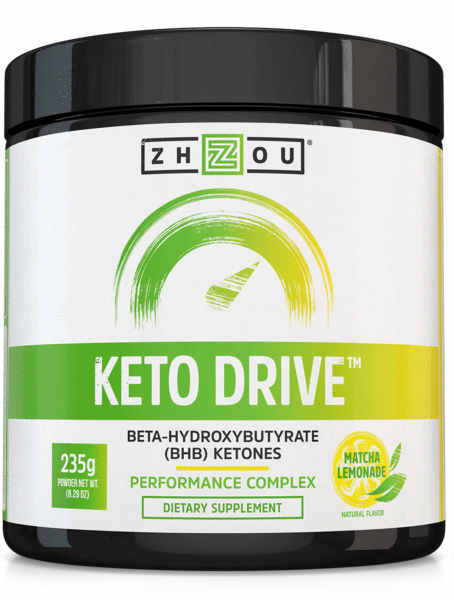 Zhou Nutrition: Keto Drive (BHB) Ketones Fine Powder Lemon (Jar) 8.3oz