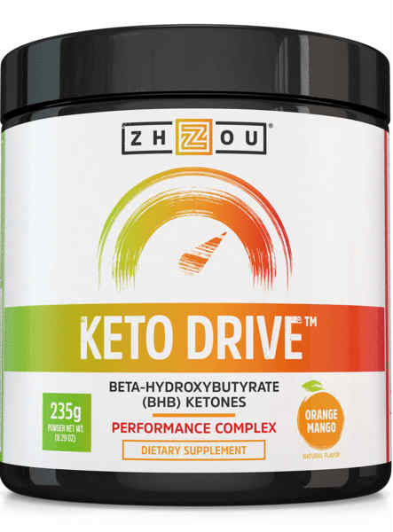 Zhou Nutrition: Keto Drive (BHB) Ketones Fine Powder Orange Mango (Jar) 8.3oz