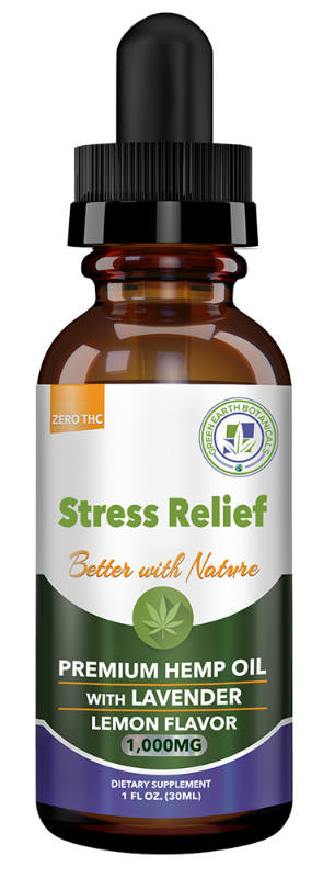 GREEN EARTH BOTANICALS: CBD Oil 1000Mg Stress Relief w/ Lavender - Lemon 2.9 ounce