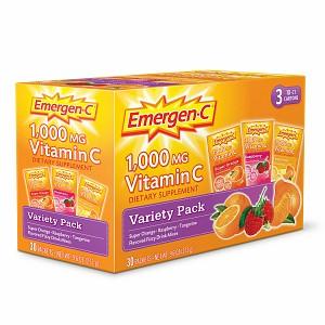 ALACER: Emergen-C Variety Pack Orange, Raspberry, Tangerine 30 packets