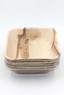 ECOSOULIFE: Palm Leaf-Square Bowl 6' Natural 12 ct