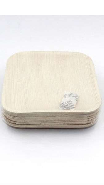 ECOSOULIFE: Palm Leaf-Square Plate 6' Natural 15 ct