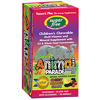 Natures Plus: Source of Life Animal Parade Sugar Free Multi D3 Assorted Flavors 90 Chewables