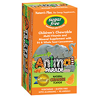 Natures Plus: Source of Life Animal Parade Sugar Free Multi with D3 90 Chewables Orange Flavor