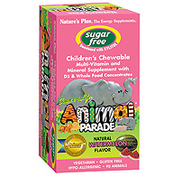 Natures Plus: Source of Life® Animal Parade® Sugar Free Multi with D3 - Watermelon Flavor - Children's Chewable with Whole Food Concentrates 90 Chewables