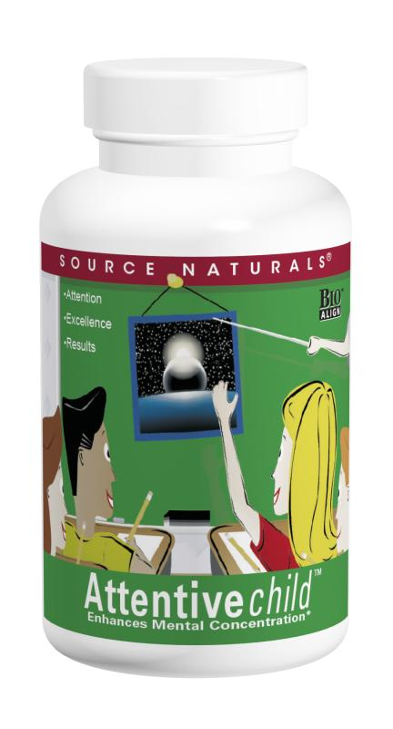 SOURCE NATURALS: Attentive Child 60 Wafers