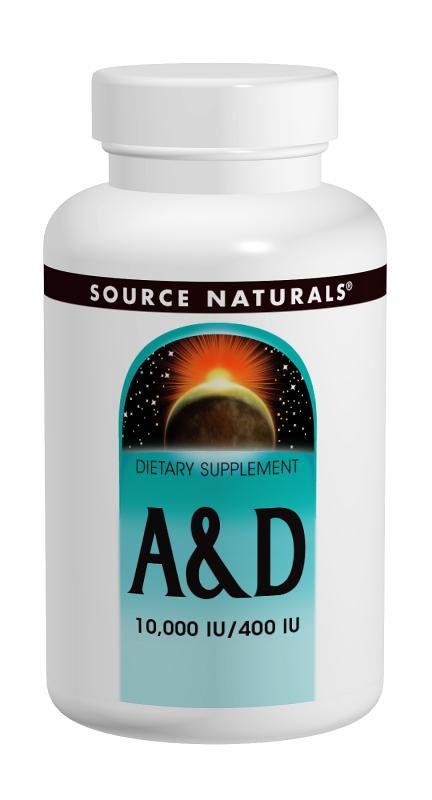 SOURCE NATURALS: Vitamin A & D 10,000 A + 400 D 100 tabs