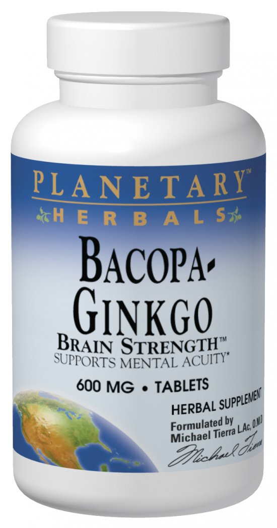 PLANETARY HERBALS: Bacopa-Ginkgo Brain Strength 30 tabs