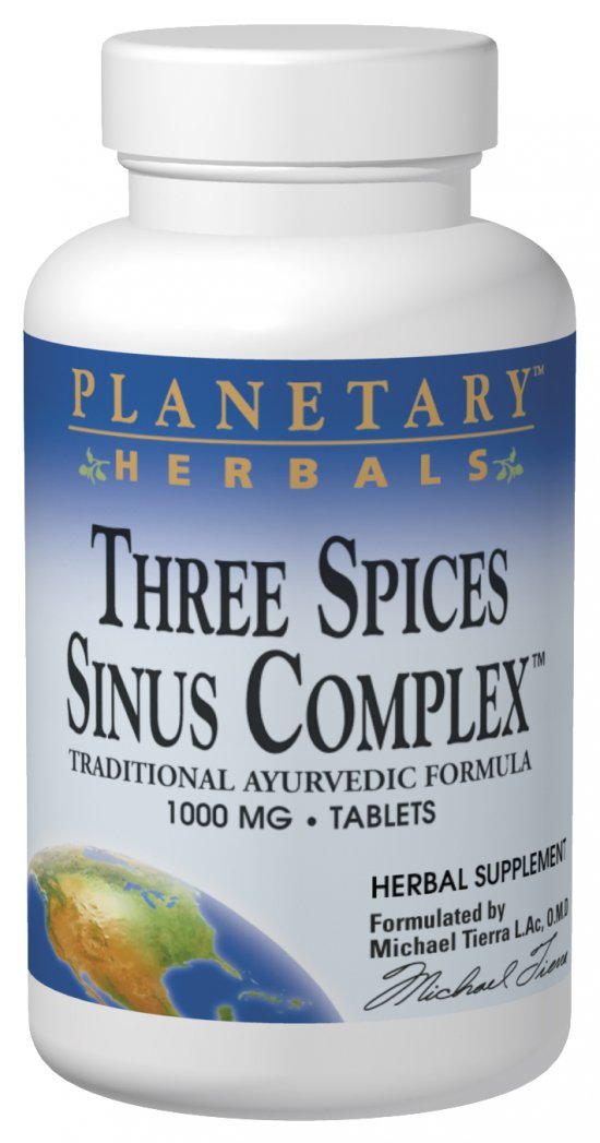 PLANETARY HERBALS: Three Spices Sinus Support 90 tabs