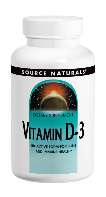 SOURCE NATURALS: Vitamin D-3 5000 IU capsules 120 caps