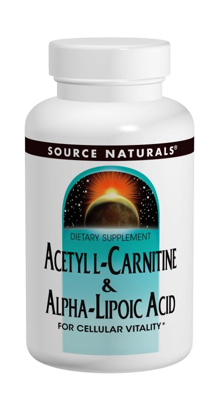 SOURCE NATURALS: Acetyl L-Carnitine and Alpha-Lipoic Acid 650MG 180 Tabs
